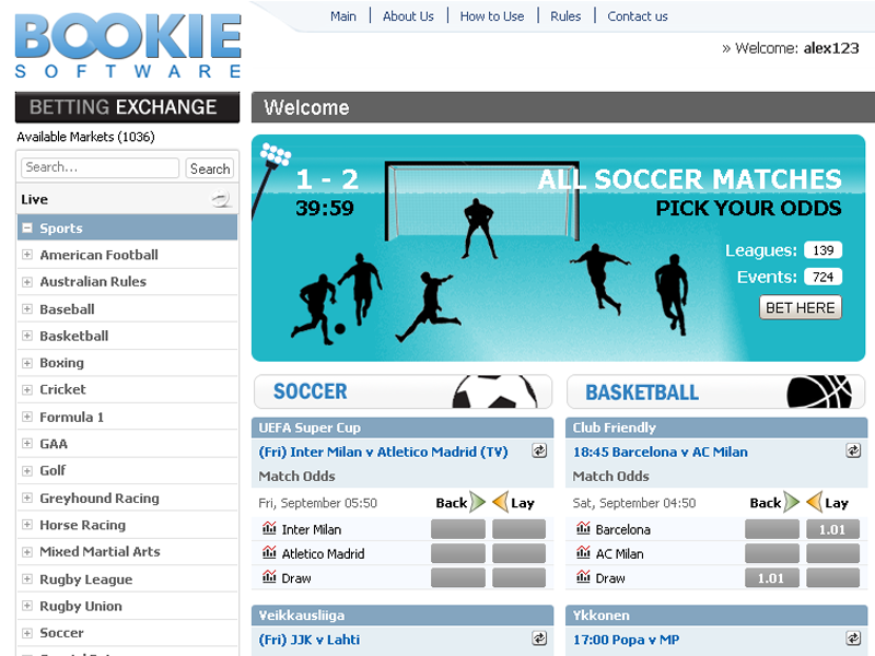 Betting Exchange by BOOKIE Software Free Download and Review