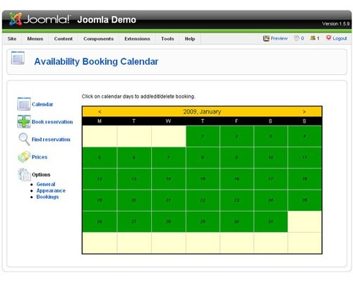 Calendar Booking System Php : Booking calendar joomla free download and review