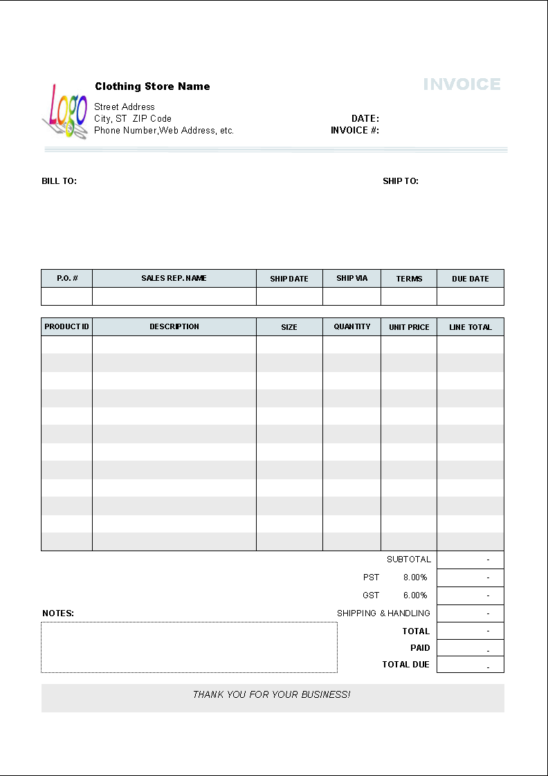 Clothing Store Invoice Template Free Download And Review