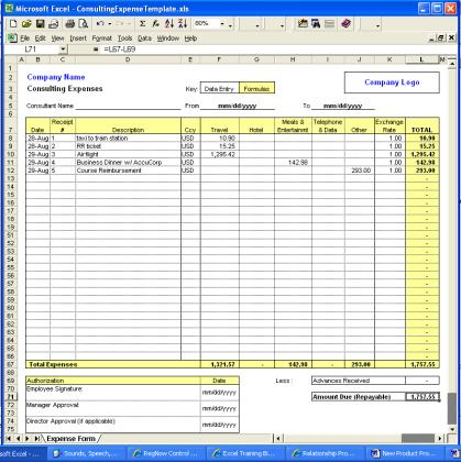 Consulting Expense Excel Template v1 Free Download and Review