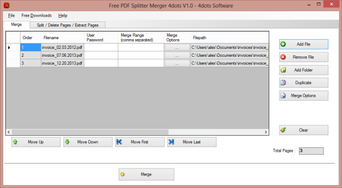 Free PDF Splitter Merger 4dots Free Download and Review