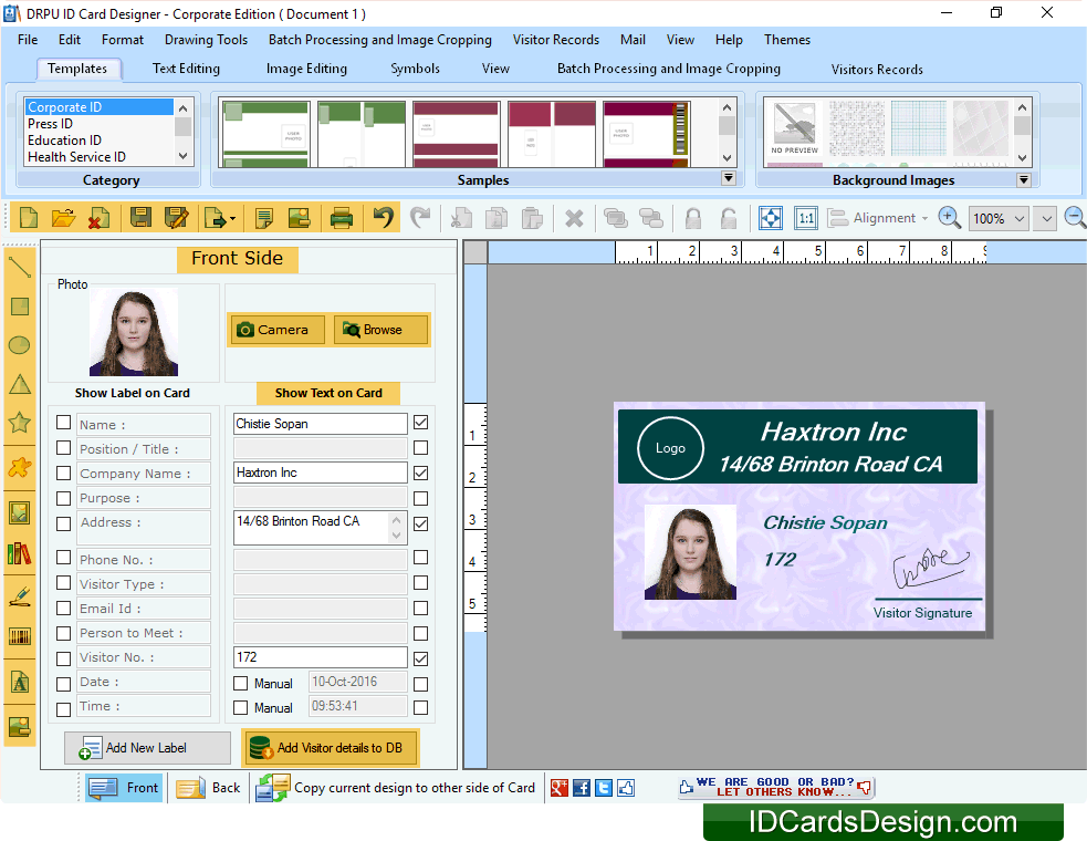 Id cards design software free download and review for Free online office design tool