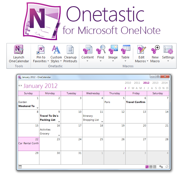 Screenshot of onetastic for microsoft onenote 32bit 2 0 0 for Ms office calendar template 2015
