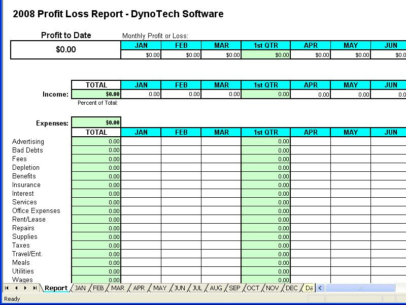 profit loss report spreadsheet free download and review